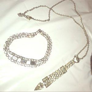 Vintage Crystal Set of Necklace & Earrings